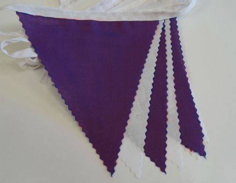 BUNTING White & Purple - 3m, 5m or 10m
